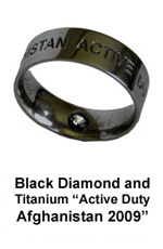 Military Ring with Black Diamond for our Servicewomen and servicemen in Afghanistan