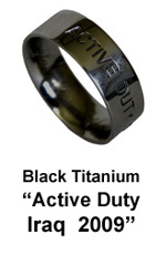Active Duty Military Ring - Iraq - Black Titanium Ring by AbsoluteTitanium.com