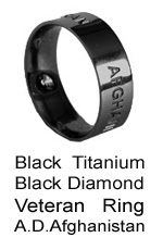Veteran-Military Ring with Black Diamond for our Servicewomen and servicemen in Afghanistan