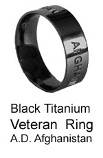 Veteran-Active Duty Military Ring - Afghanistan - Black Titanium Ring by AbsoluteTitanium.com