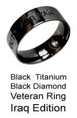 Veteran-Military Service Ring with Black Diamond for our Servicewomen and servicemen in Iraq