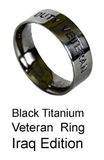 Veteran-Active Duty Military Ring - Iraq - Black Titanium Ring by AbsoluteTitanium.com