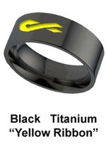 custom military ring with Engraved Yellow Ribbon in Black Titanium