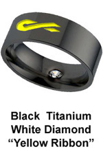 Black Titanium Military Ring with engraved Yellow Ribbon and a white Diamond to Support our Troops in Iraq or Afghanistan