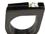 Black Zirconium Tension Setting Ring Set