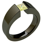 Black Titanium Wedding Ring with a Princess Cut Lab Grown Yellow Diamond