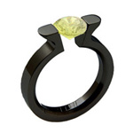 Black Zirconium Wedding Ring With a Round Lab Grown Yellow Diamond