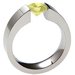Titanium Wedding Ring With a Round Lab Grown Yellow Diamond