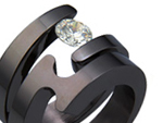 Black Titanium Tension Setting Ring Set
