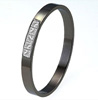 Black Titanium Bangle - Flat with % Princess Cut Diamonds