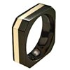 Black Titanium Ring - OCTO FLUSH INLAY BLACK