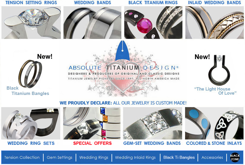 designers and producers of titanium wedding rings,engagement rings,black Titanium wedding bands